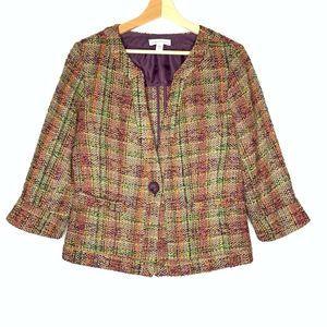 COLDWATER CREEK Tweed Neon Color 3/4 Sleeve Jacket